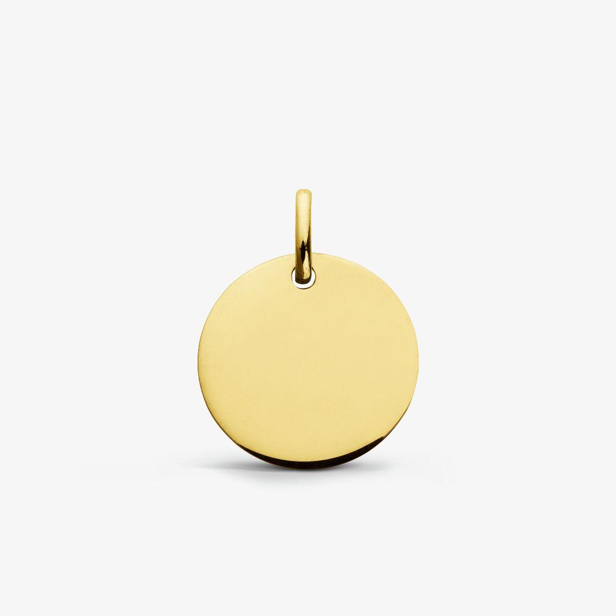 Médaille plaque à graver - Or Jaune 18 carats - 14 mm