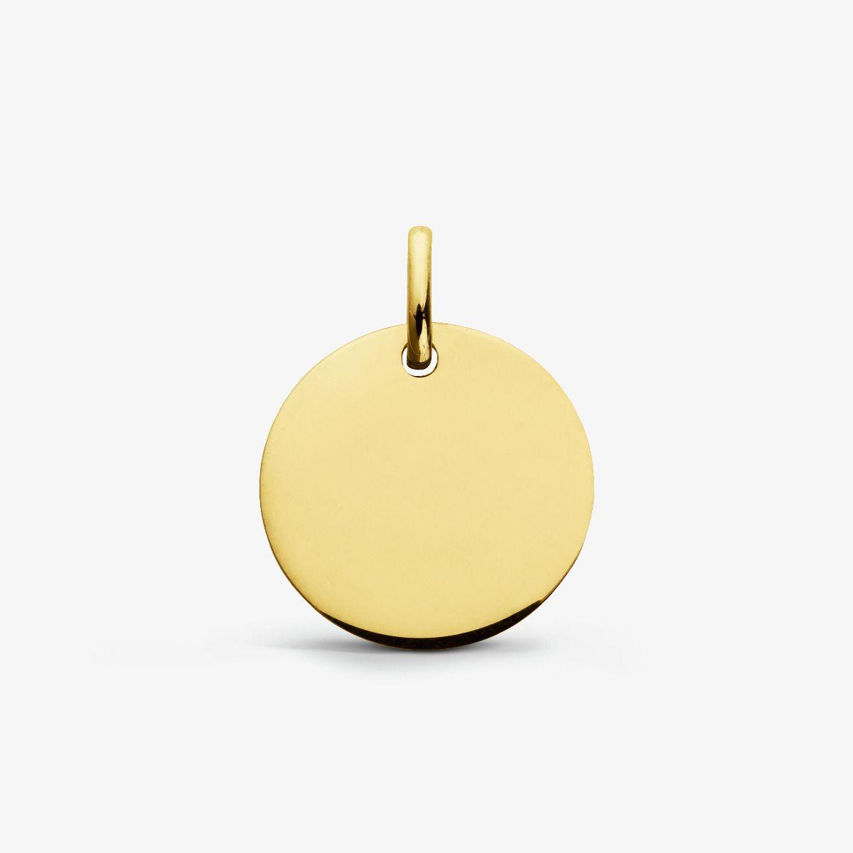 Médaille plaque à graver Or Jaune 18 carats - 16 mm