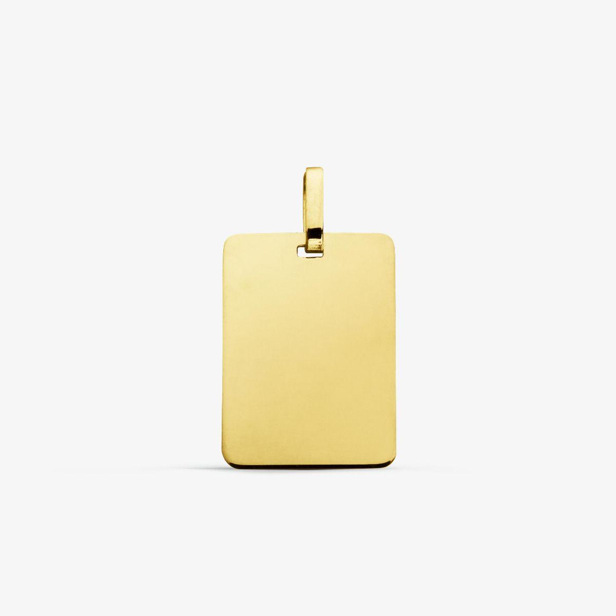 Médaille rectangulaire en Or jaune 18 carats - 17 mm