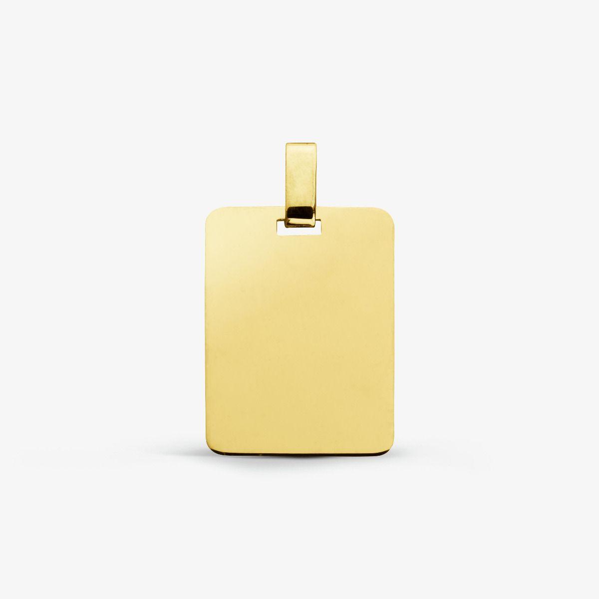 Médaille rectangulaire en Or jaune 18 carats - 19 mm