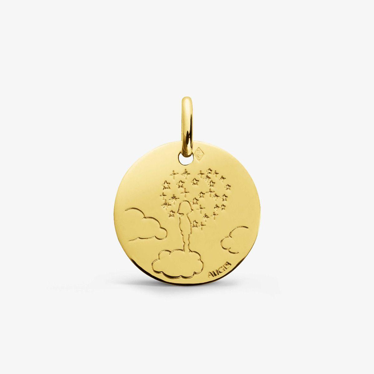 Médaille Enfant la tête dans les nuages Or Jaune 18 carats - 16 mm