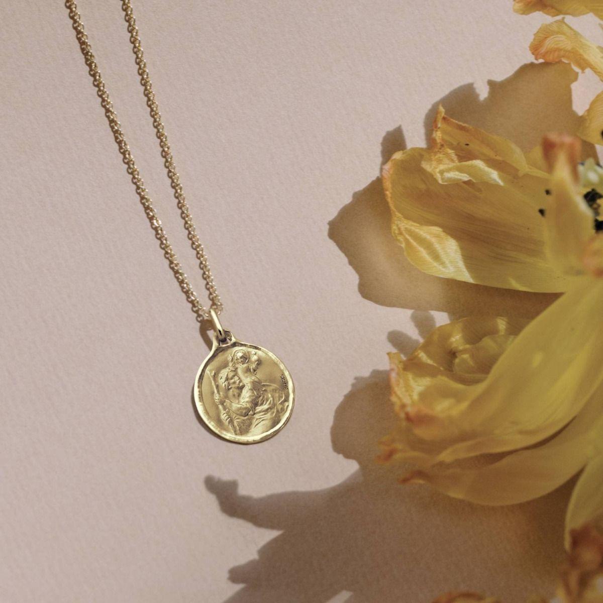 médaille St Christophe 18 mm avec bord