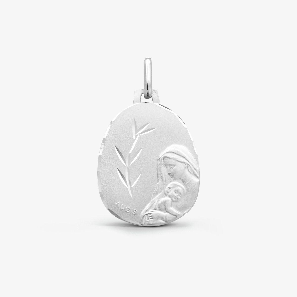 Médaille Vierge à l'Enfant Or Blanc 18 carats - 18 mm