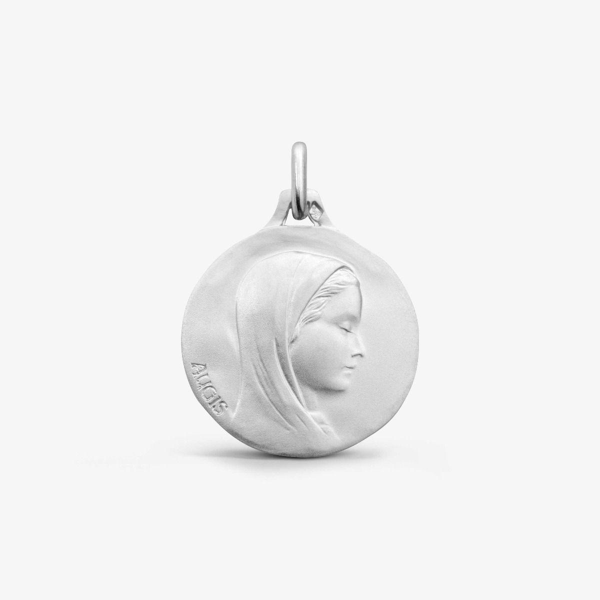 Médaille Vierge au Voile Or Blanc 18 carats - 18 mm