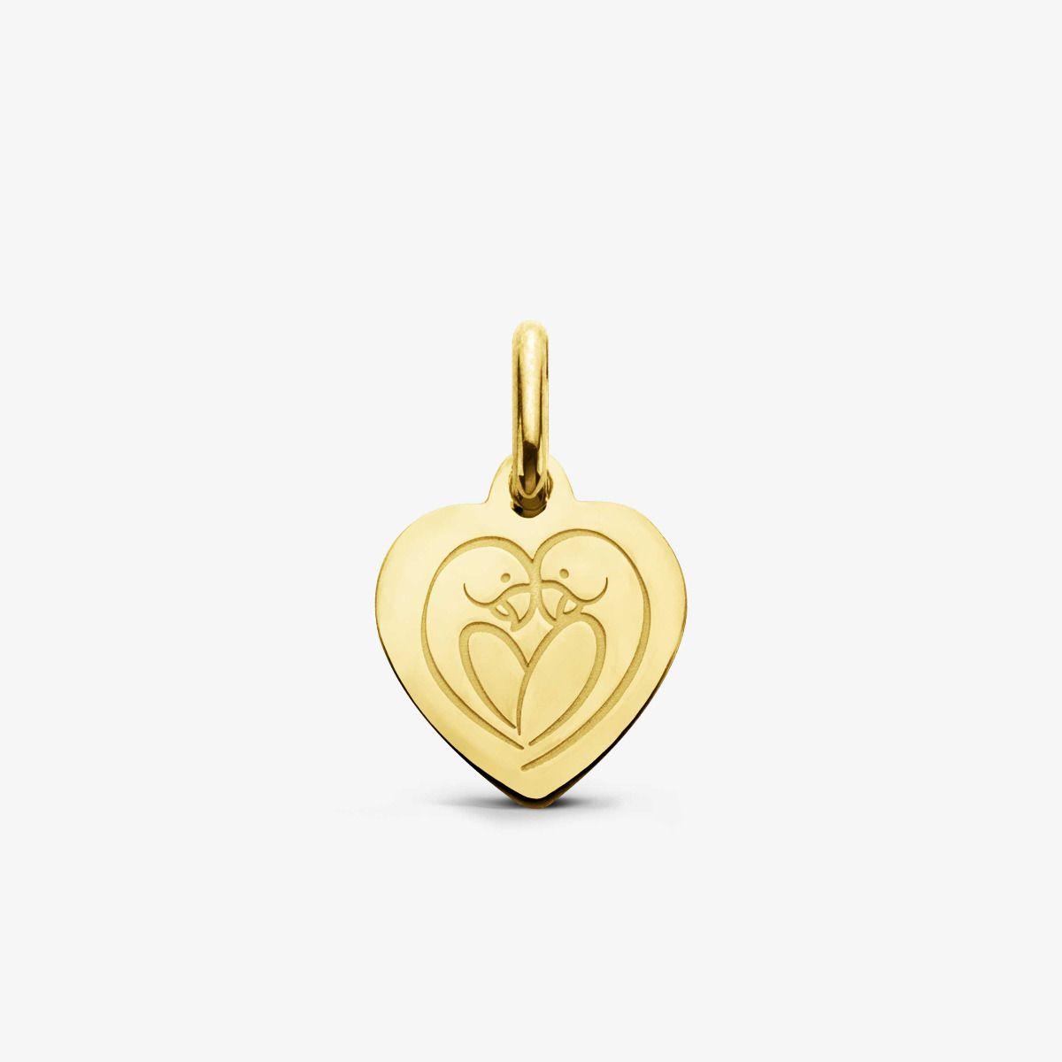 Mini Médaille Cœur Love Bird Or Jaune 18 carats - 10,5 mm
